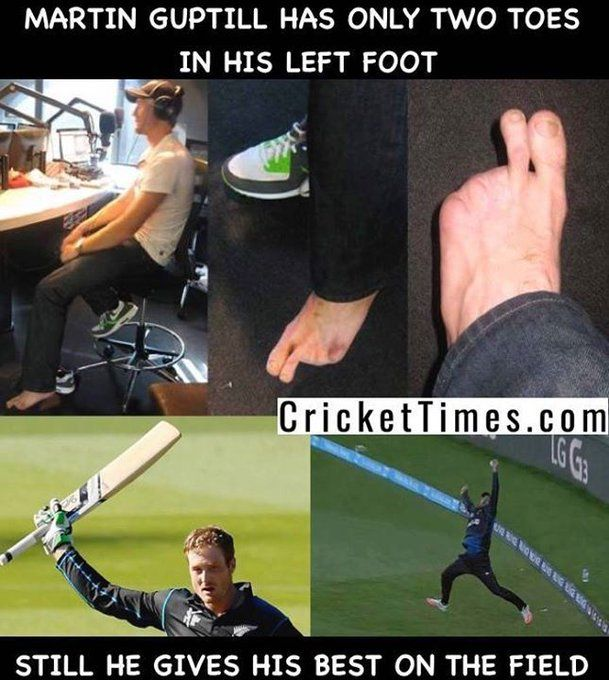 Image result for martin guptill two toes