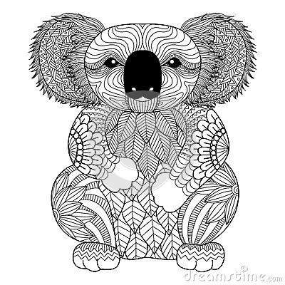 Drawing Zentangle Koala For Coloring Page Shirt Design Effect Logo Tattoo And Decoration Bear Coloring Pages Animal Coloring Pages Animal Coloring Books