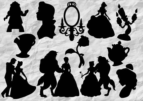 12 Beauty And The Beast Silhouettes Beauty And The Beast Svg Beauty And The Beast Silhouette Beauty And The Beast Beast