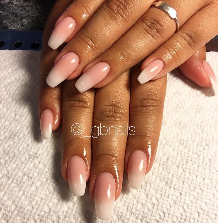 Coffin Ombre Set Using Pink White Acrylic No Polish Did A Gel Top Coat To Make Them Shine Coffi Gel Nails French Almond Acrylic Nails Ombre French Nails