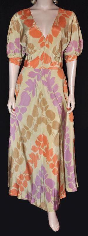 Colourful Saks Hostess! 1930s Silk Crepe-De-Chine Dressing Gown~ Sz 36-38 (#1590)