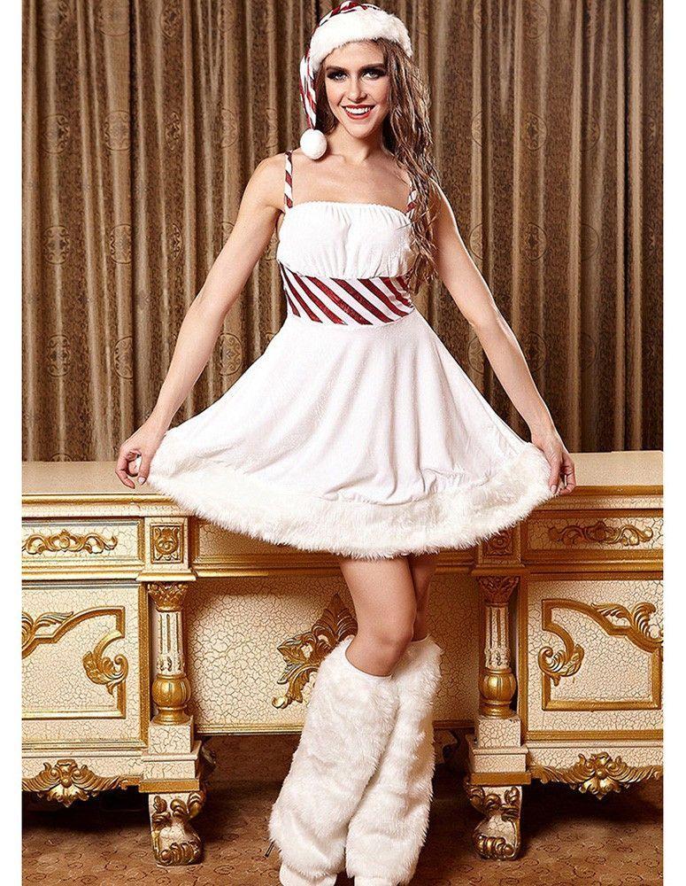 Womens Sexy White Christmas Candy Snow Girl Costume - Womens Sexy White Christmas Candy Snow Girl Costume Christmas