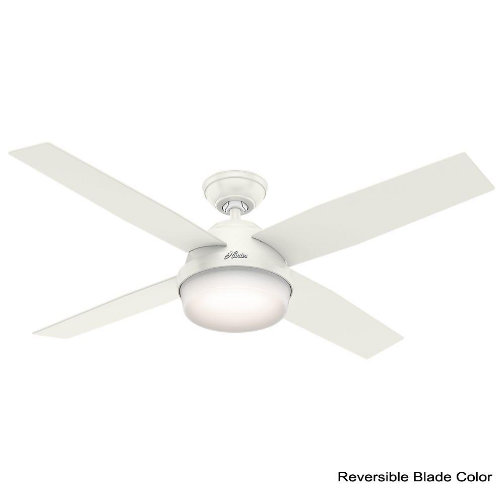 Hunter Dempsey 52 In Led Indoor Fresh White Ceiling Fan With Light Kit And Universal Remote 59217 Ceiling Fan With Light White Ceiling Fan Ceiling Fan
