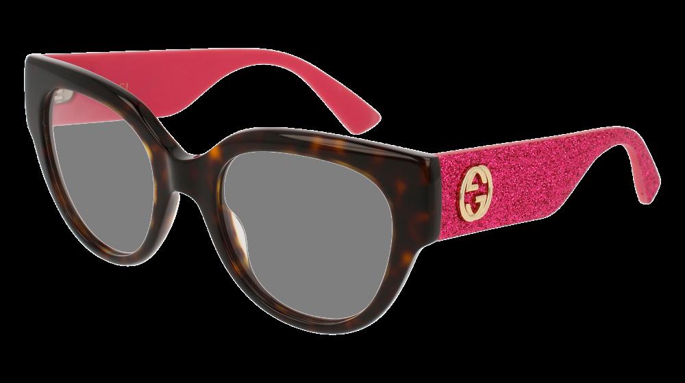 0c97cb73c39 Gucci - GG0103O-003 Havana Pink Eyeglasses   Demo Lenses
