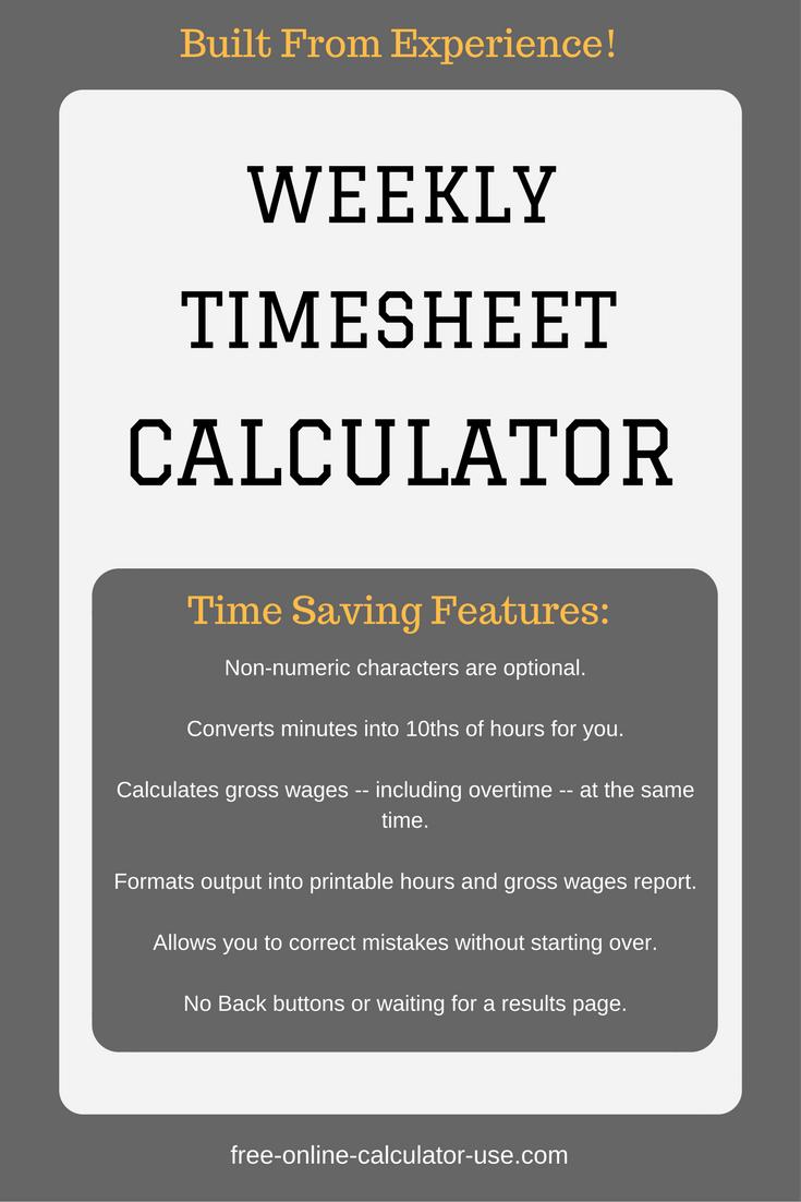 Weekly Timesheet Calculator With Lunch Break Business Calculators Inspirational Blogs Blog Website Inspiration