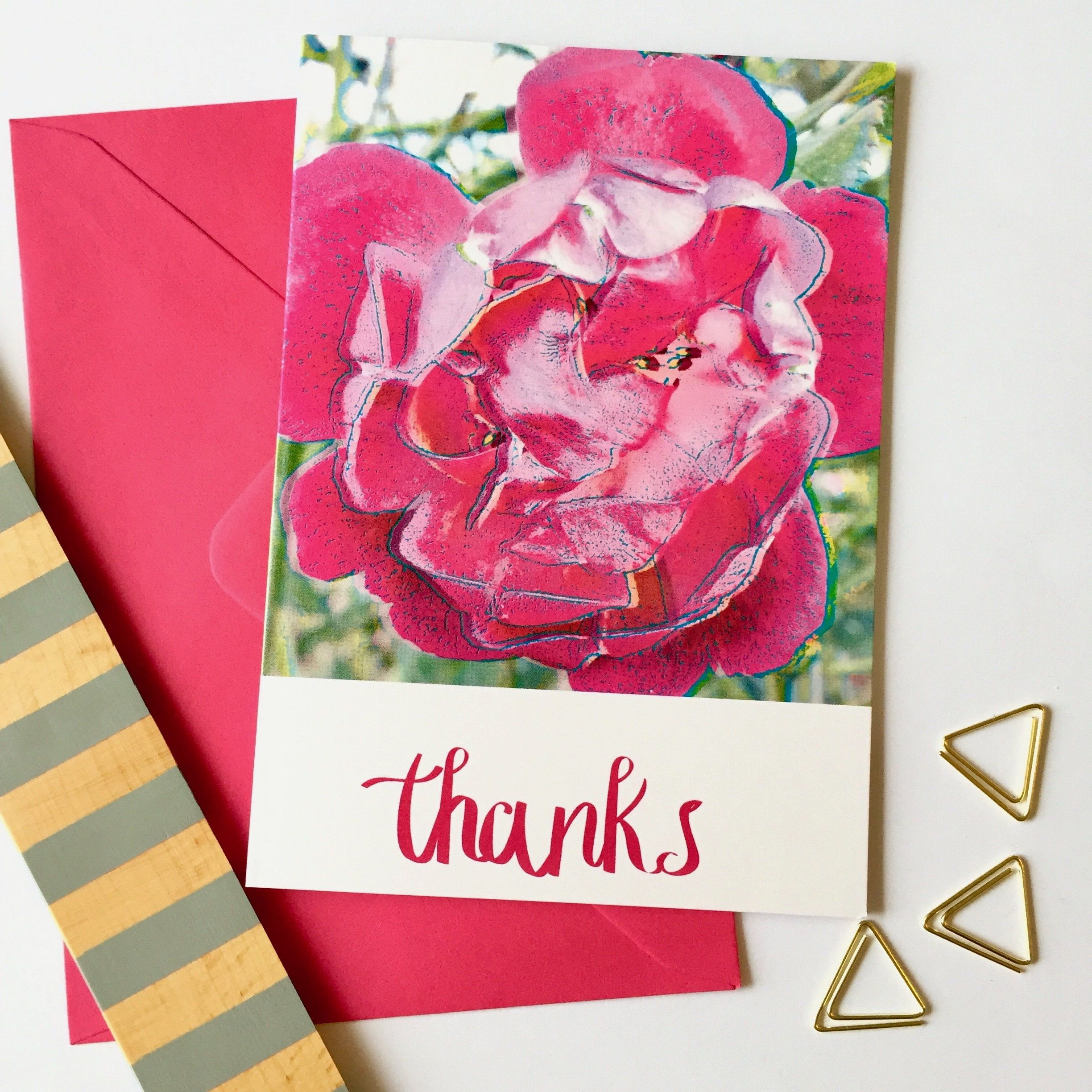 Floral Thank You Card Hand Lettered Thank You Card Thank