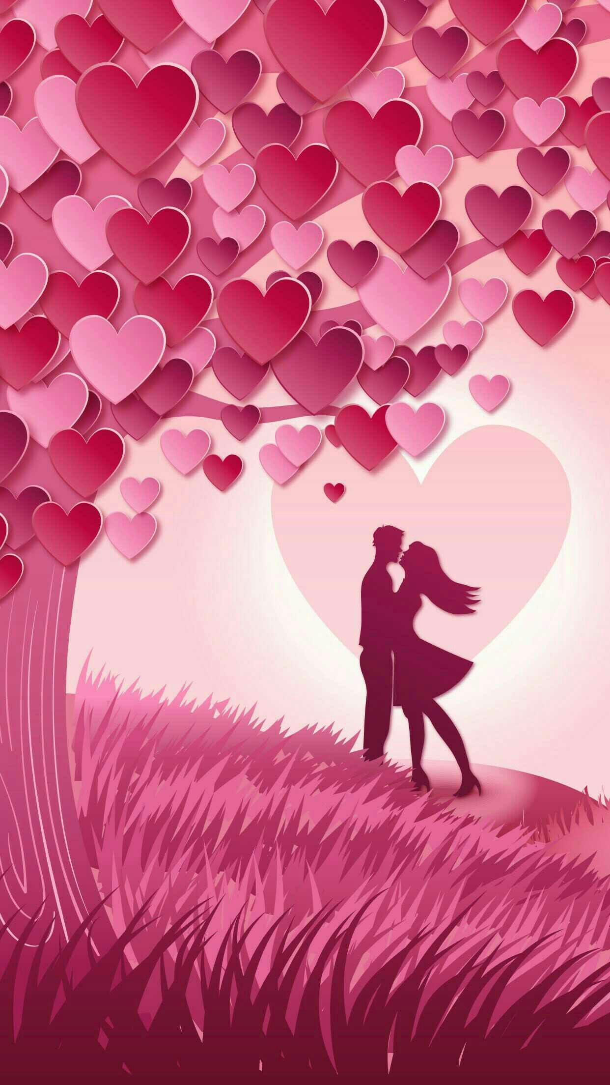 pink heart tree lovers wallpaper | *hearts and roses wallpapers in