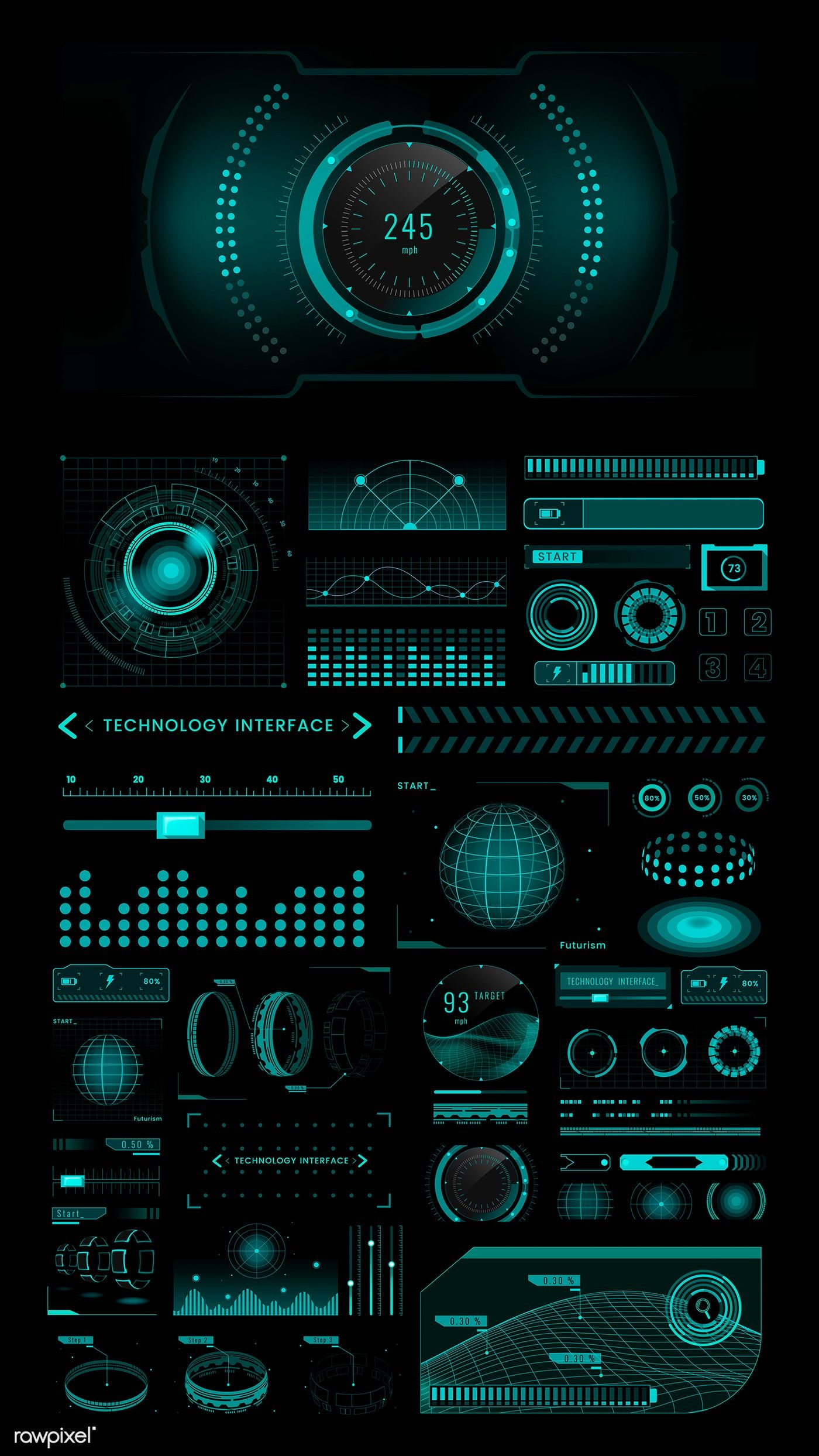 Download premium vector of velocity technology interface