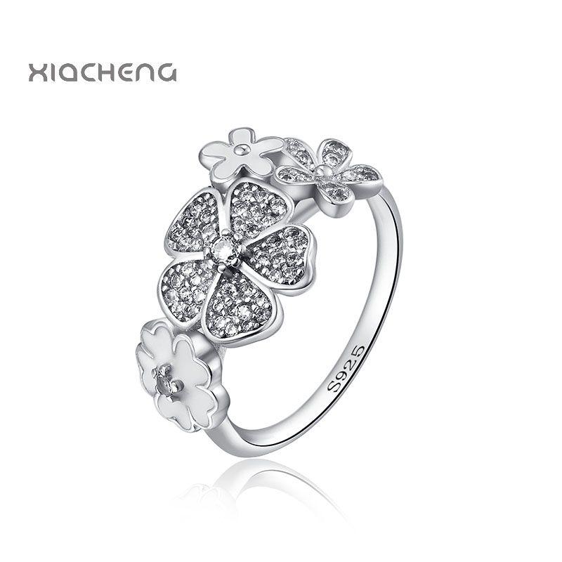 New European 4 Flower Ring 925 Sterling Silver Ring For ...