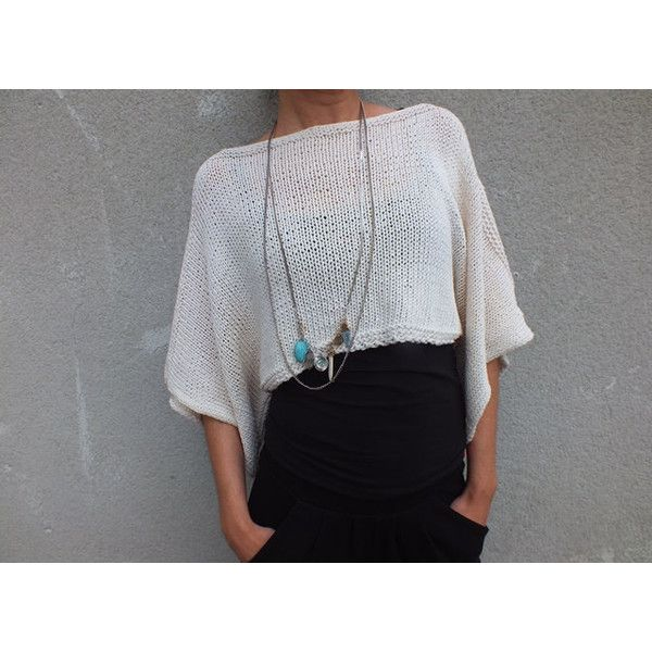 Ivory Cropped Sweater Summer Cotton Sweater Poncho Summer Coverup ...