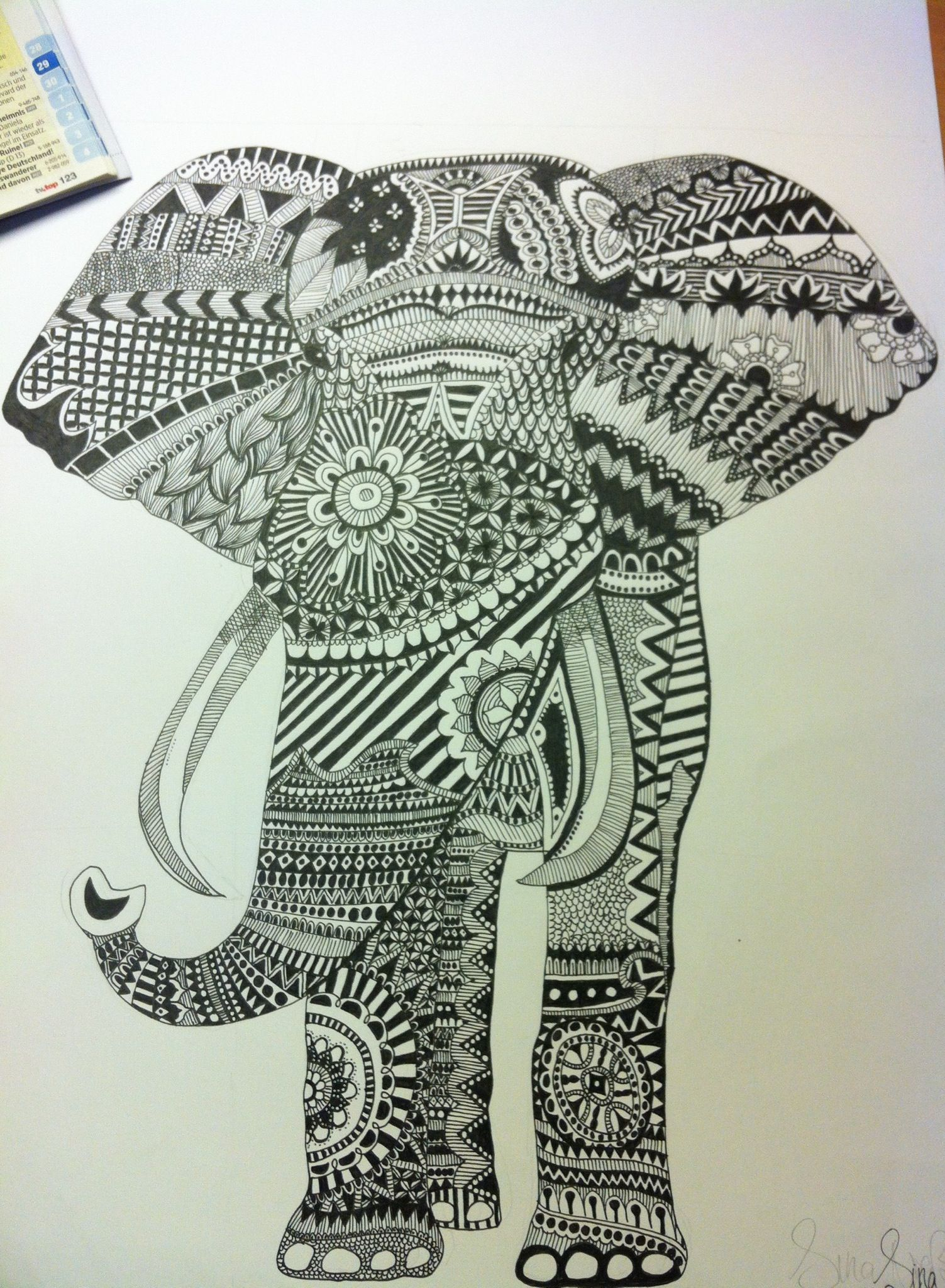 Zentangle - Elefant :) | Zentangle | Pinterest | süße Tiere ...