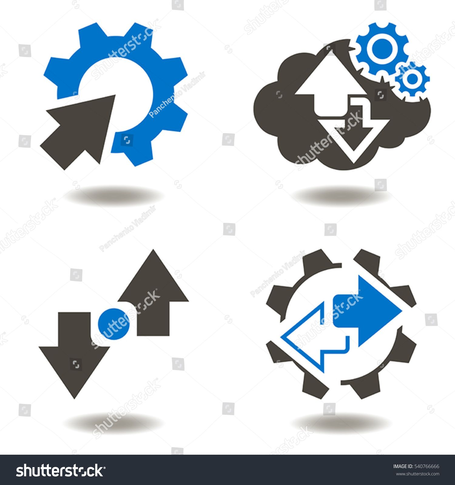 Industrial Integration Business Web Concept Gear Arrow Vector Icon Set Cycle Recycle Modernization Automati Icon Set Vector Pencil Drawings Easy Easy Drawings
