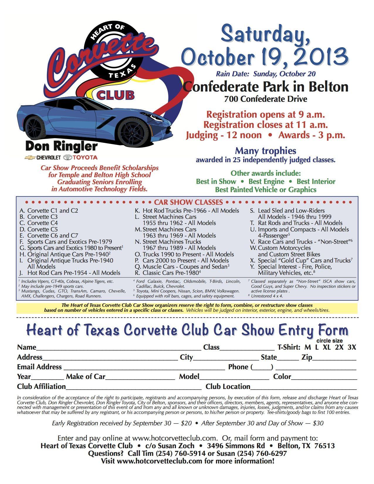 Register car online texas - Heart Of Texas Corvette Club October 19 Car Show