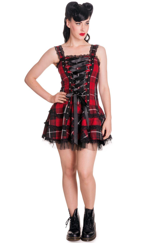 Gothic Punk Rock Emo Harley Tartan Dark Red Corset Lace Up
