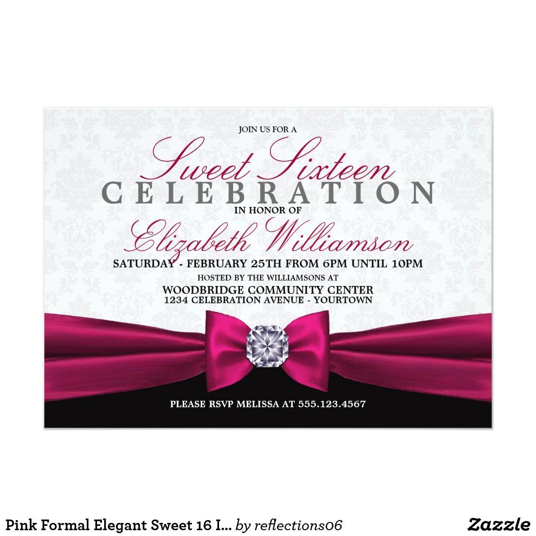 Pink Formal Elegant Sweet 16 Invitation Zazzle Com In 2019