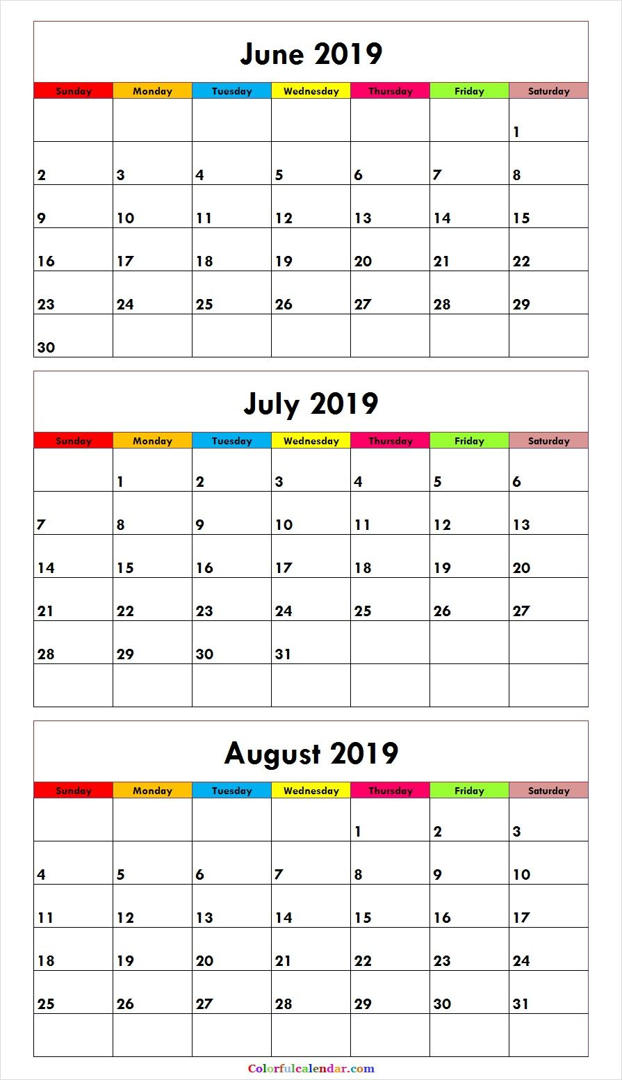 New Cute June July August 2019 Calendar Design Calendar June