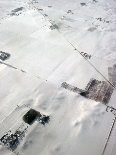Snow covered farm fields