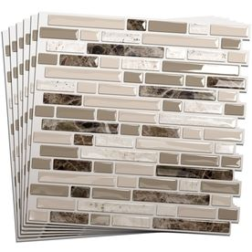 Smart Tiles White, Beige, Brown Composite Vinyl Mosaic Subway Peel-and-Stick  Wall Tile (Common: x Actual: x