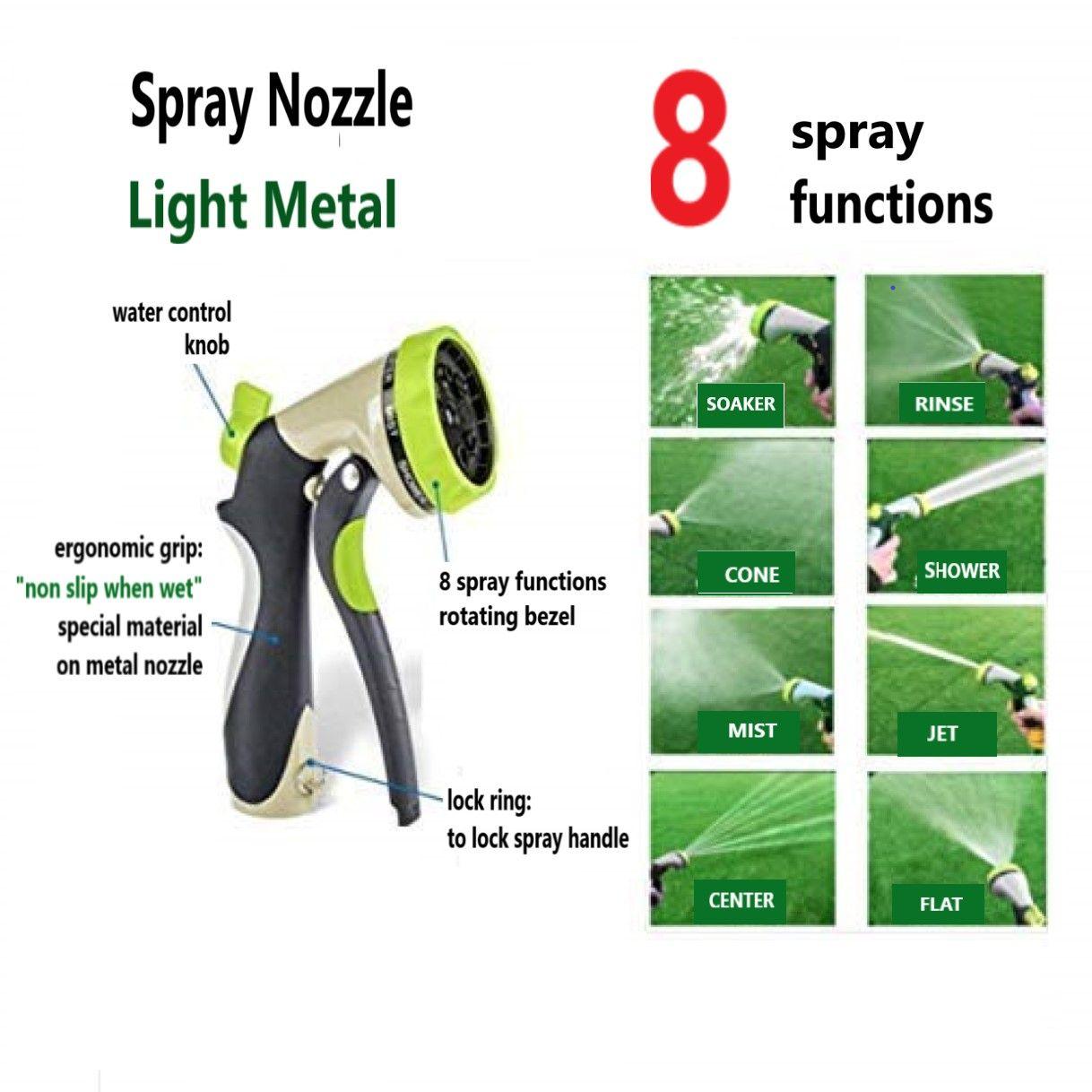 Spray Nozzle Ergonomic 8 Spray Patterns Nozzle Water Hose Spray Pattern Nozzle