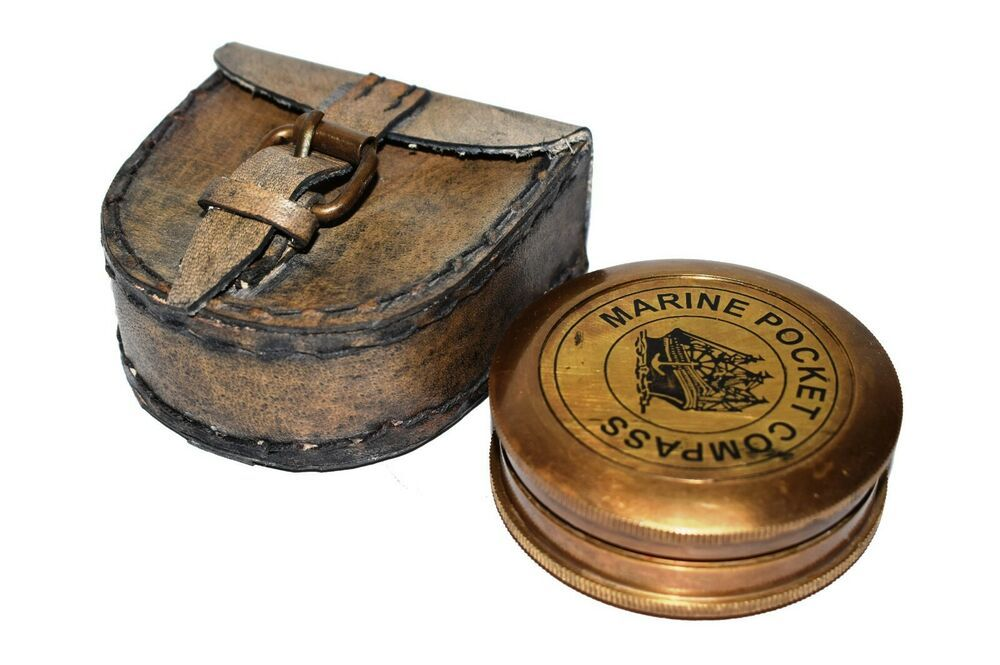 Antique MILLATRY Compass Nautical Home Decor Brass Marine With Wooden Box Gift