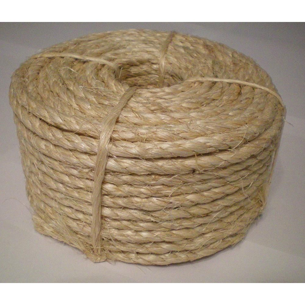 Boen 1 4 In X 50 Ft 3 Strand Sisal Twisted Rope 2 Pack Slr 14502 The Home Depot Sisal Rope Cat Scratching Post Cat Scratching