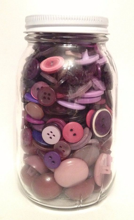 Jar of Vintage and Newer Purple Buttons by DouglasJamesDesigns