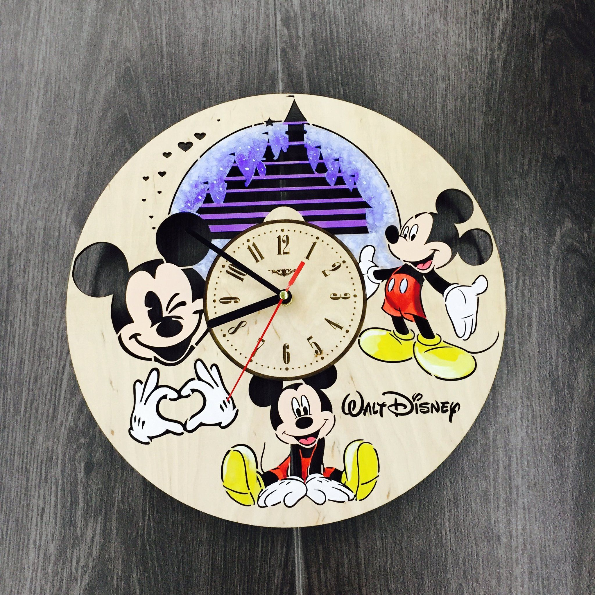 Painted Mickey Mouse Wall Wood Clock 60 Size 12 In 30 Cm