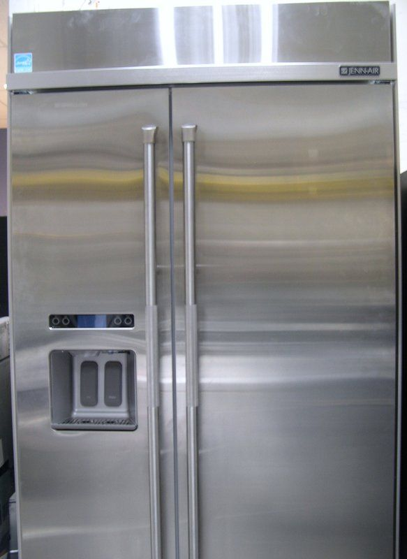 Jenn air built in side by side refrigerator in for Jenn air floating glass refrigerator