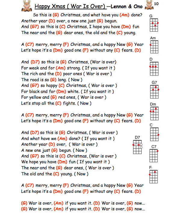 Happy Xmas War Is Over John Lennon Ukulele Chords Xmas
