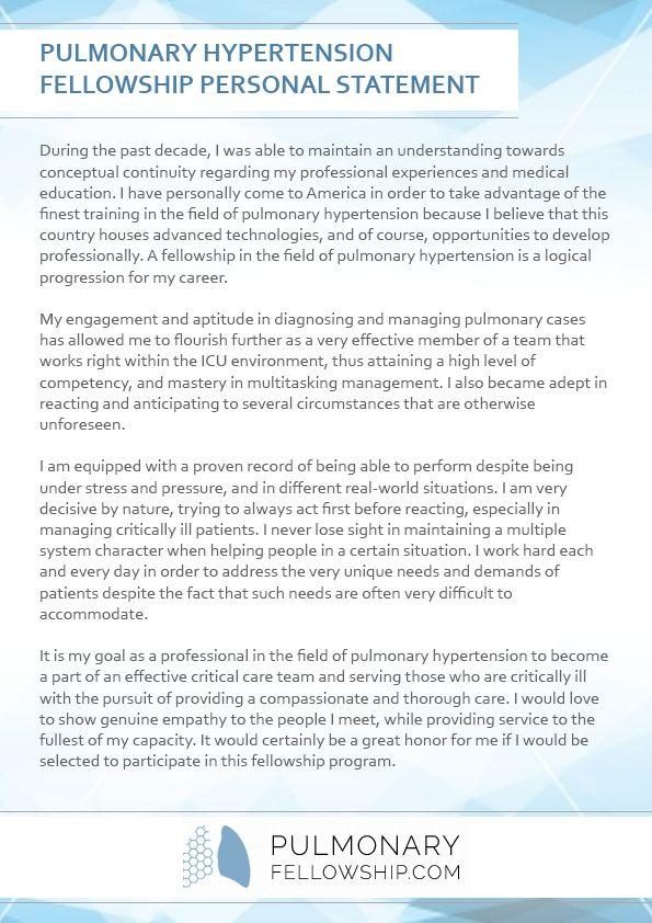 Pulmonary Fellowship Personal Statement Pulmonary Fellowship - statement samples