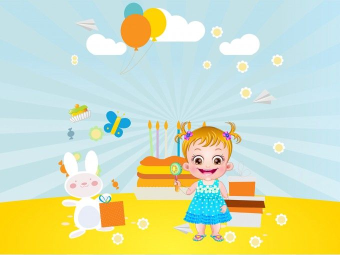 Download free Baby Hazel Birthday PPT Backgrounds Animated Baby - summer powerpoint template