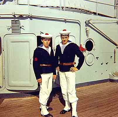 Best hats ever... Two French sailors on deck - 1960s