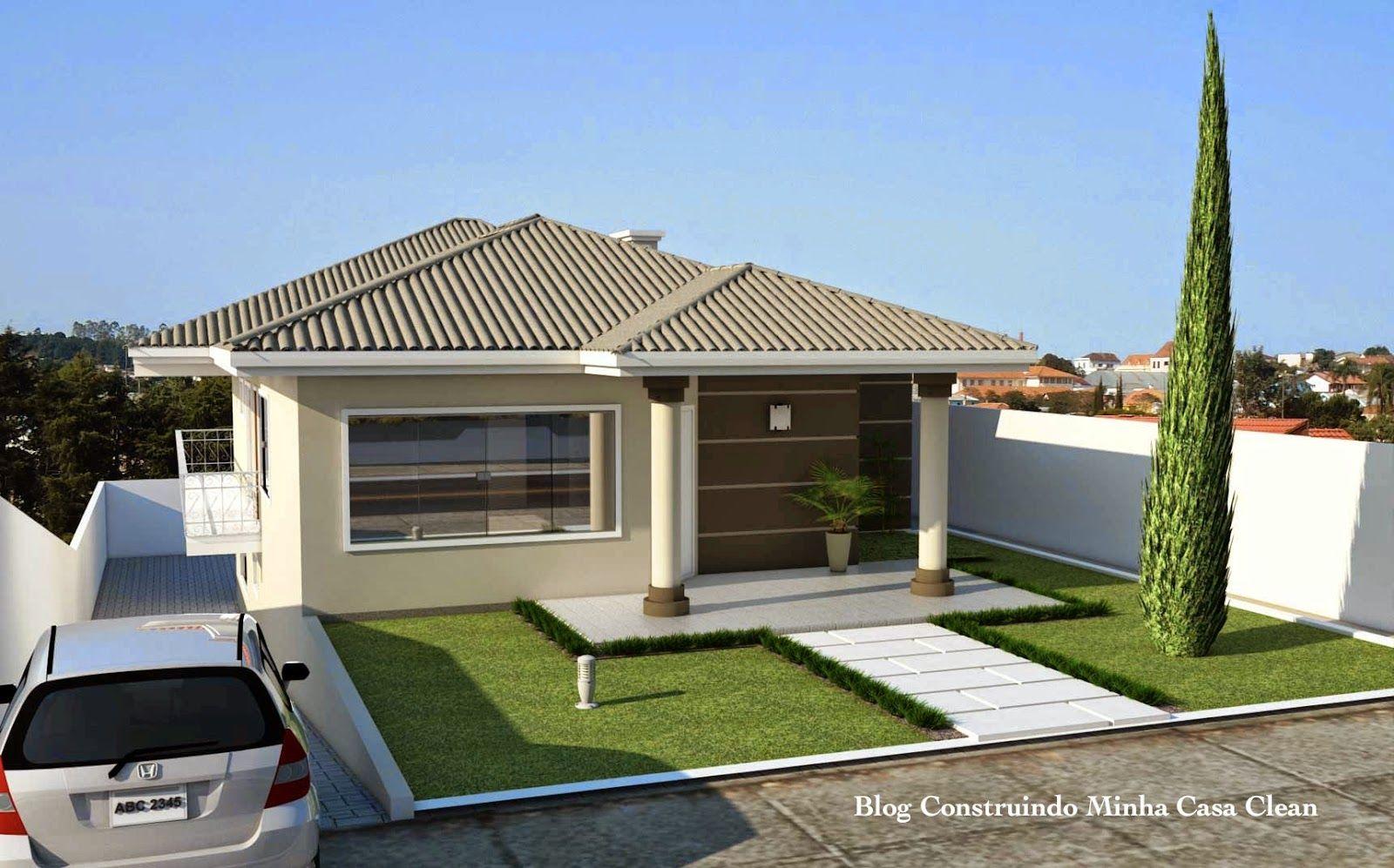 Construindo minha casa clean fachadas de casas em for Modelos casas modernas para construir