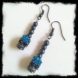 GRAPHITE & BLUE SKULL Earrings