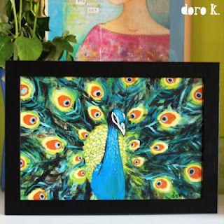 """peacock"";   acrylic paint on cotton;"