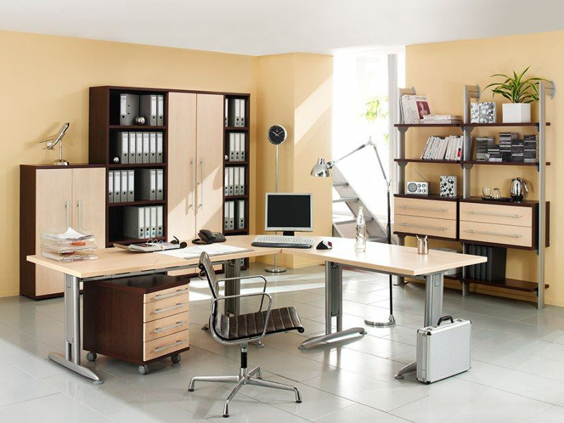 Elegant And Smart Looking Home Office Design For Large Spaces With Wonderful