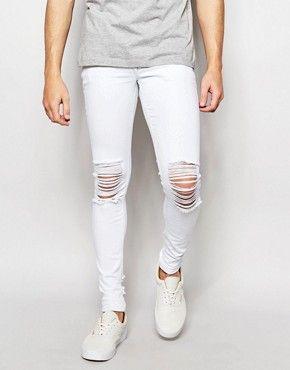 Super Skinny En Blanc Avec Des Déchirures Du Genou - Asos Blanc JP4yeQ3q
