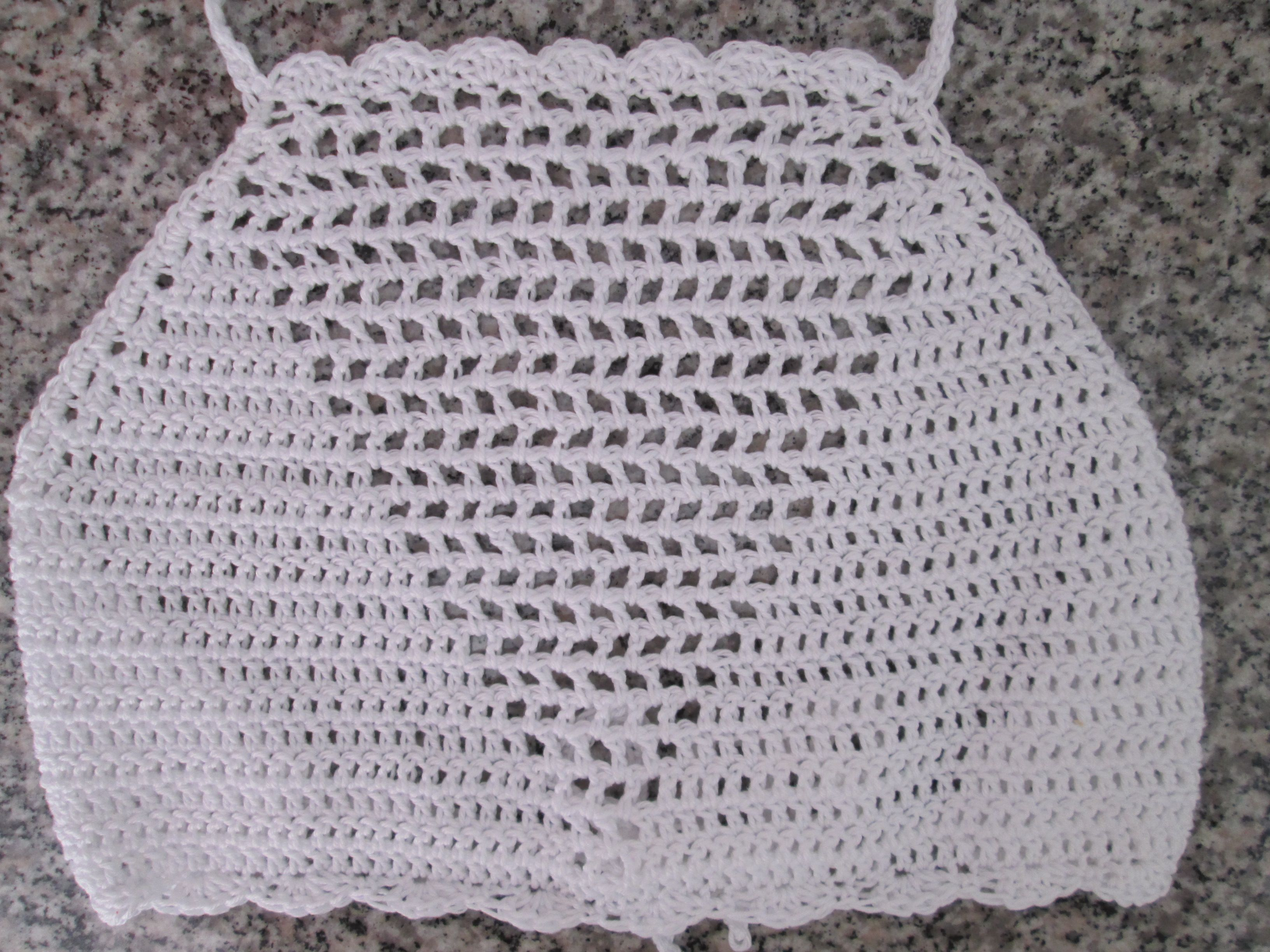 Crochet high neck top in white cotton | MaggieMay crochet boutique ...