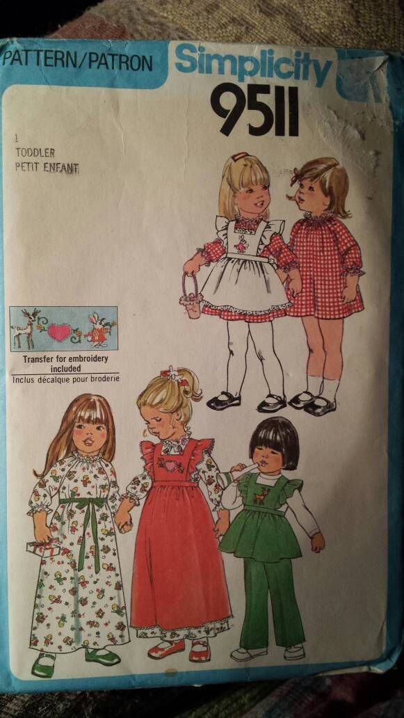 Simplicity 9511 vintage sewing pattern 1980 toddler pullover dress ...
