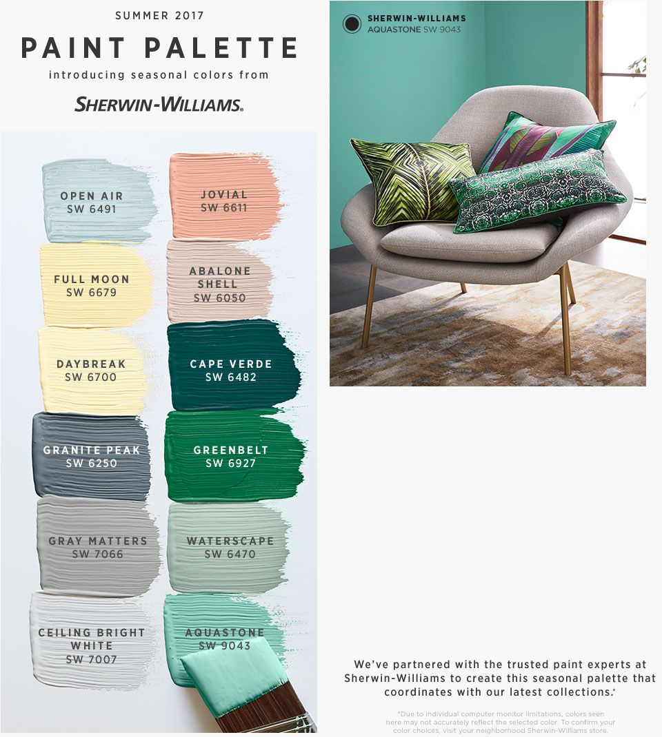 Summer 2017 seasonal colors from sherwin williams west elm