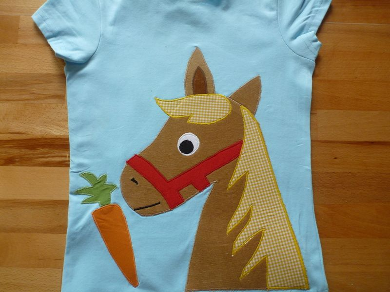 Langarmshirts - T-Shirt, Applikation, Pferd, Pony, - ein ...