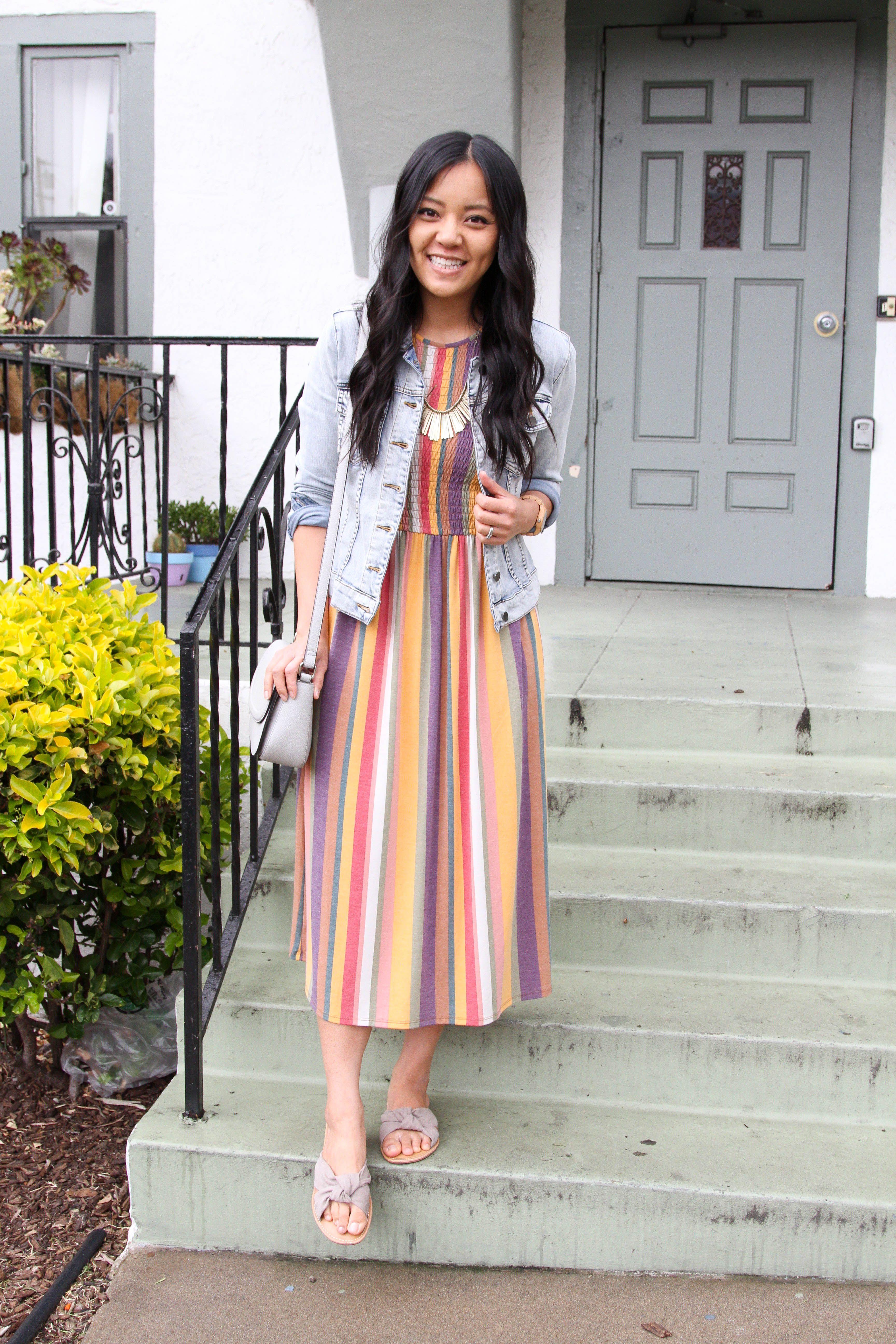 fd9bea1dabb6 striped maxi dress + denim jacket + grey purse + sandals + statement  necklace