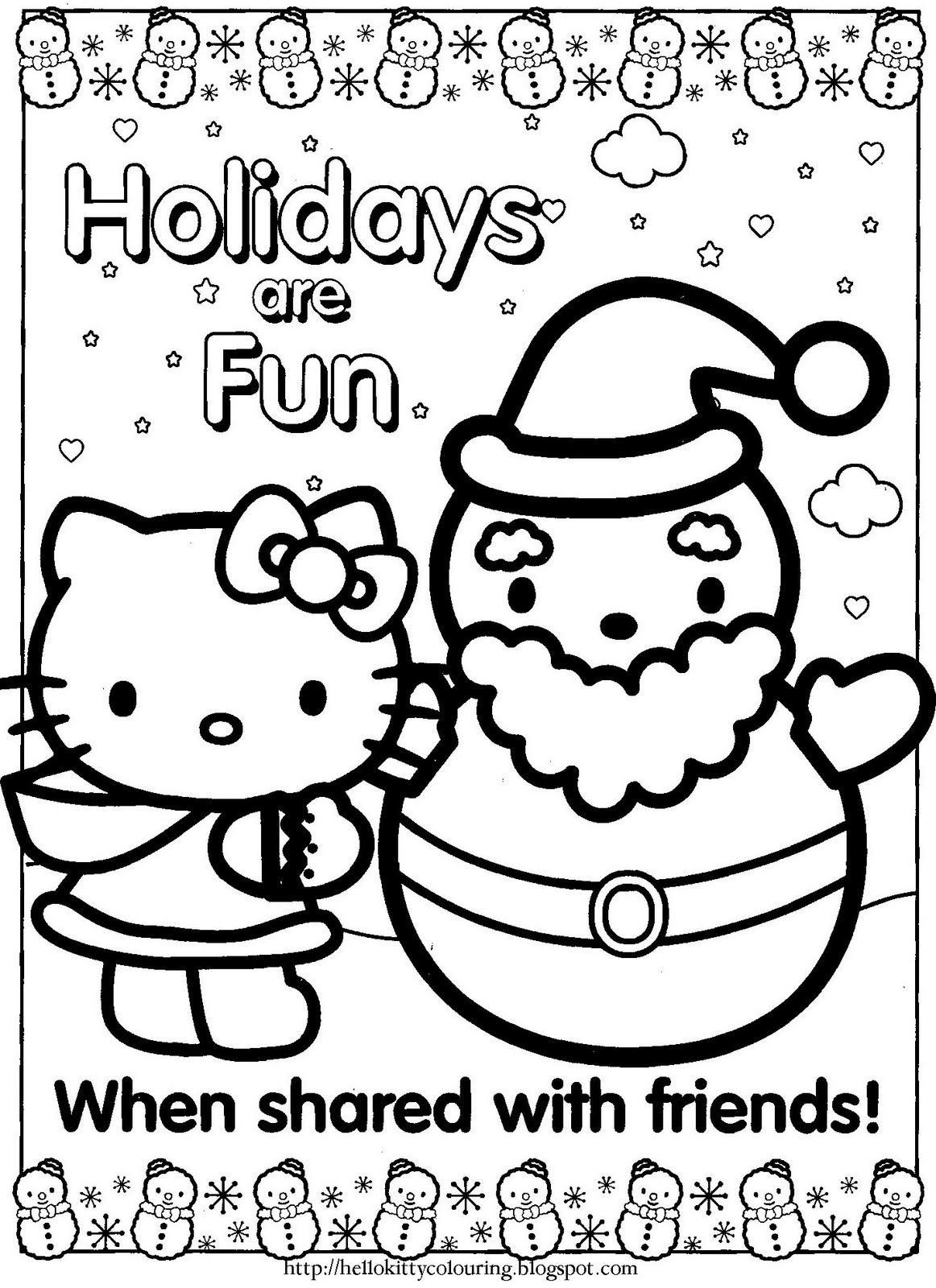 10 Beautiful Hello Kitty Coloring Pages Christmas