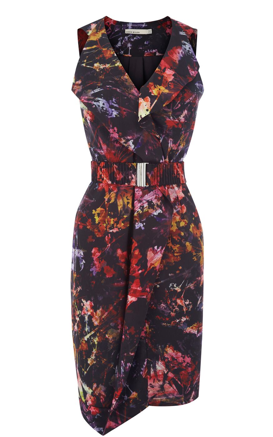 05677658e59e Karen Millen Paint splash Floral Dress Black Multi