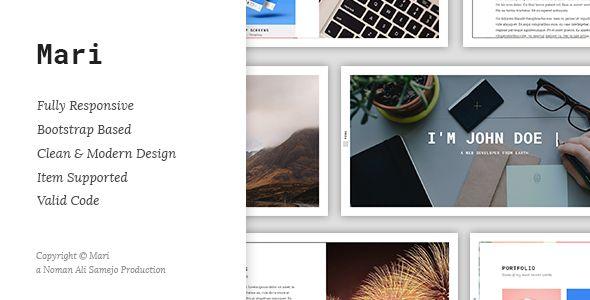 Mari - Responsive Resume \/ CV \/ vCard Template  Mari Mari is a - html resume