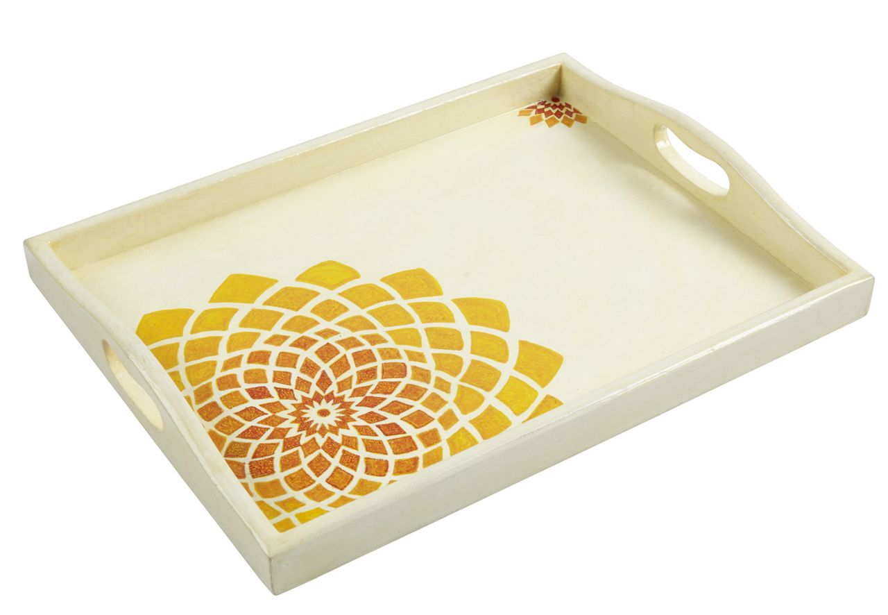 Kashmir Sunflower Tray | Hand-painted Serving Trays