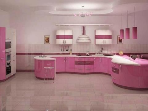 Pink Kitchen For The Home Pink Cabinets Pink Kitchen Designs