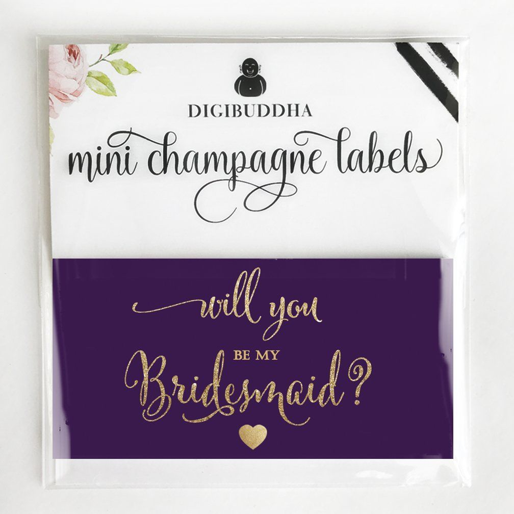 Will You Be My Bridesmaid? MINI CHAMPAGNE BOTTLE LABELS Bridal Party ...