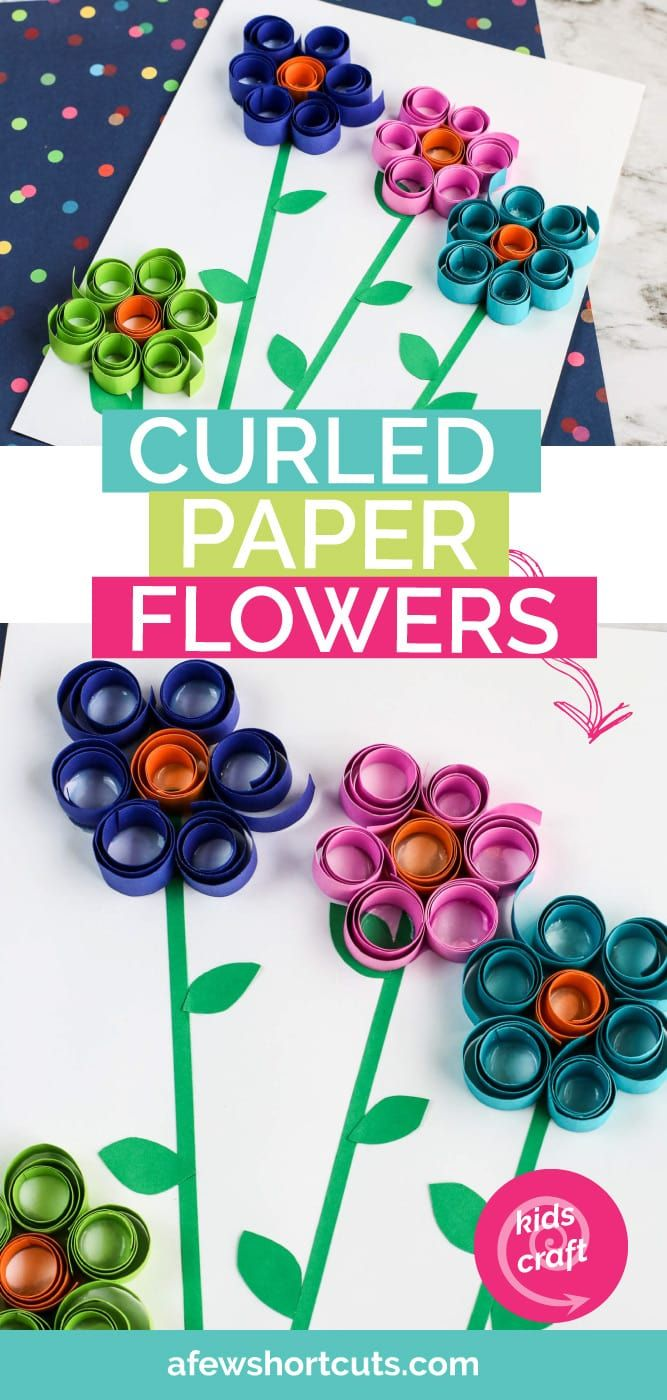 Curled Paper Spring Flowers Kids Craft - A Few Shortcuts