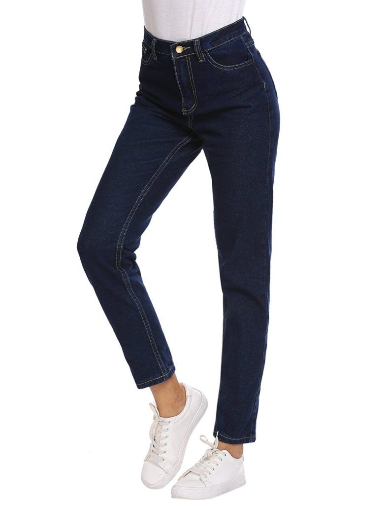 9db4faf208ff Romanstii Women's High Waist Mom Jeans,Boyfriend Straight-Leg Denim Pants